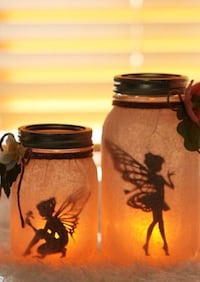 Handmade light up fairy jars