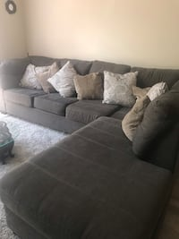 Gray fabric sectional sofa with throw pillows Pembroke Pines, 33025