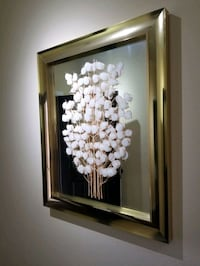Money tree mirror, white, brown and gold frame