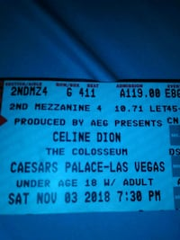 Two Celine Dion Concert Tickets Costa Mesa, 92626