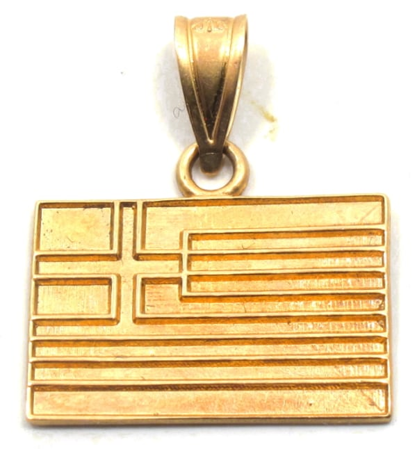 Mens 14K Greek Flag Pendant f63e93d8-1943-4fe2-a53e-28d8d3b7f523