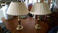 two solid brass heavy table lamps Sterling