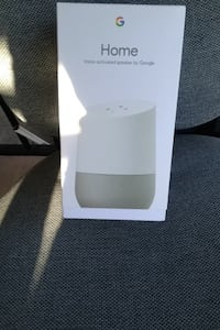 White and gray google home voice-activated speaker box Richmond