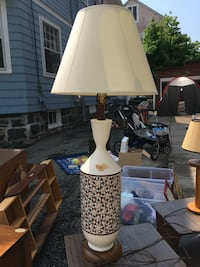 MCM White and brown table lamp