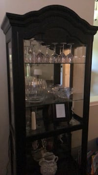 Black wooden framed glass display cabinet 696 mi