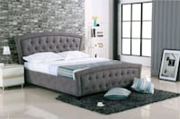 Brand New Queen size Grey Fabric Bed Frame