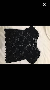 Women's black lace floral scoop neck shirt Richmond, V7C