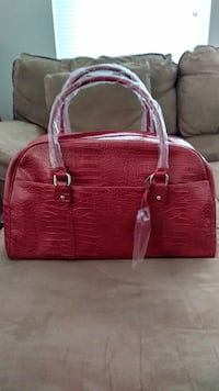 Red Faux ClLeather Crocodile Bag