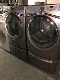 WHIRPOOL  STEAM  SET WASHER AND GAS DRYER FRONT LOAD  STAINLESS COLOR