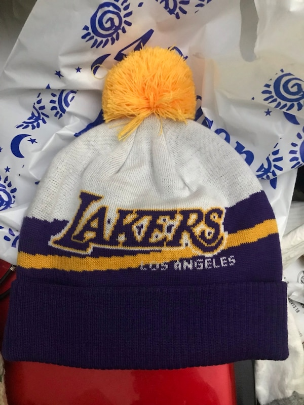 Los Angeles Lakers NBA Knit Stocking Cap Hat with tassle Adidas 73279871763