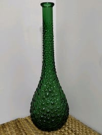 Mid century Italian GENIE BOTTLE green glass vase