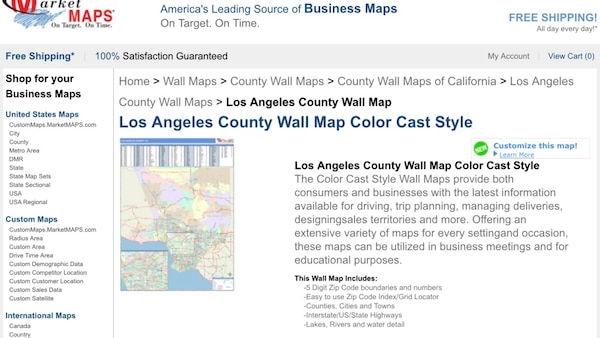 """Amazing laminated color cast wall map of Los Angeles with wooden rails  72""""x96"""