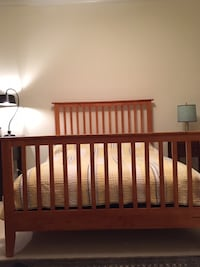 Fullsize Bed-mission style, solid wood $125 (w/mattress another $125) Chevy Chase, 20815