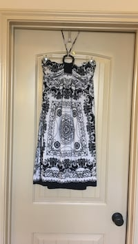 black and white floral sleeveless dress Cypress, 77433