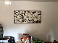 Black, white, and yellow floral painting 2242 mi