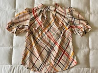 NY&C Plaid Puff-Sleeve Mock-Neck Top (L) Catonsville