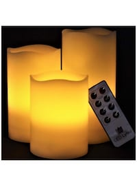 LED Lytes Flickering Flameless Candles - Set of 3 Ivory Wax Flickering Amber Yellow Flame, Auto-Off Timer Remote Control Fake Battery Operated Candles San Jose, 95148