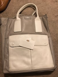Grey and white leather fossil tote purse Washington, 20012
