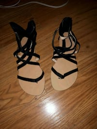 pair of black-and-beige strappy sandals Mount Pearl, A1N 2P2