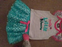 girl's white and multi-colored tank top and teal m Bryan