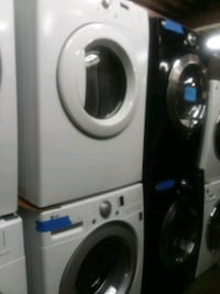 two white front-load clothes washer and dryer set 46 mi