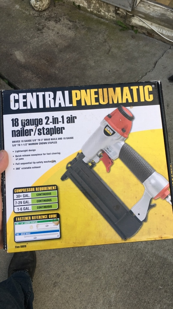 Central Pneumatic nailer and stapler box