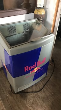 grey and blue Red bull chest freezer