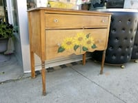 Antique wood sideboard with handpainted flowers  Hamilton