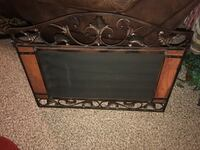 Wrought iron and wood mirror. Excellent quality. Very heavy  Logan, 51546