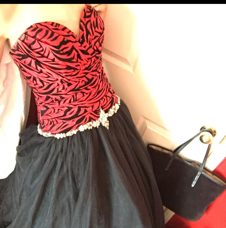 Red and Black Sweetheart Dress