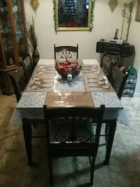 rectangular brown wooden table with six chairs dining set 1373 mi