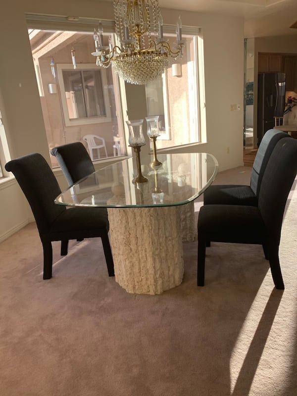 Glass table with Stone Base and Four chairs, 2 piece base d972214a-2f60-46bb-9596-0ef5504c8b8f