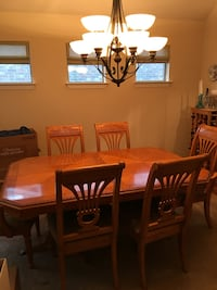 rectangular brown wooden table with six chairs dining set Buda, 78610