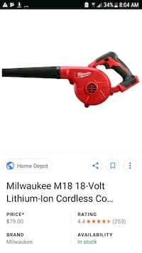Milwaukee Blower M18 18 Volt  Riverside, 92505