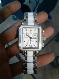rectangular white and silver chronograph watch wit