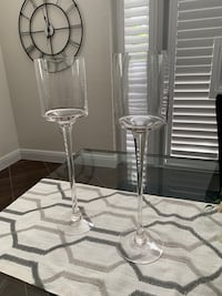 High clear long stemmed candle holders