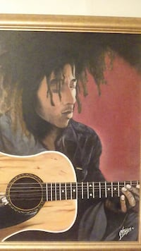 Bob marley painting with real guitar string
