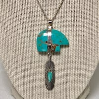 Genuine Navajo Sterling Silver & Turquoise Pendant with Sterling Chain Ashburn