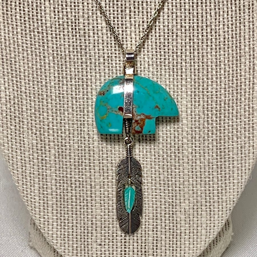 Genuine Navajo Sterling Silver & Turquoise Pendant with Sterling Chain