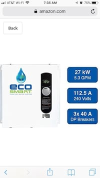 Eco Smart 27 tankless electric water heater 2390 mi