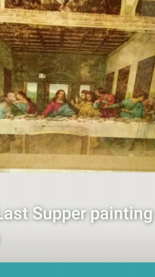 Last supper  painting and glass