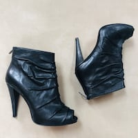 Peep toe leather booties Size 8