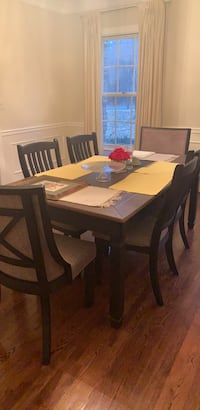 Rectangular brown wooden table with six chairs dining set. Brand new never used   Great Falls, 22066