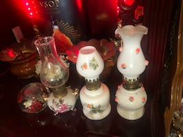 $39 for 3 vintage milk/floral oil lamps