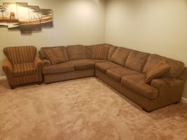 Brown Sectional Couch & Chair