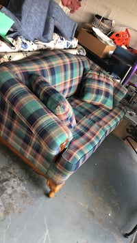 Blue, red, and white plaid fabric loveseat Kissimmee, 34743