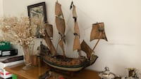 Brown and white wooden galleon ship scale model Surrey, V4A 3Z7