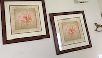 two brown wooden framed flower paintings Sterling, 20164