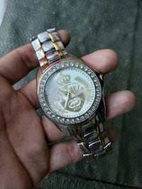 round gold-colored analog watch with link bracelet Los Angeles, 90003