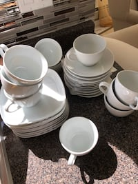 White 10 piece tea cup with 8 plates  Surrey, V3S 6T7